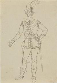 entwürfe zu edelmännern in historischen kostümen (2 works) by franz pforr