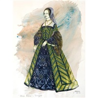costume design for beverly sills as anna in donizetti's anna bolena by jose varona
