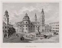 salzburg - residenzplatz (by theodor hellmuth from ansichten der stadt salzburg...) by eugen adam
