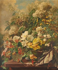composition florale sur entablement by georges jacqmotte