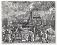 tug at battery by reginald marsh
