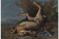 jagdstillleben mit erlegtem hasen und vögeln by johann paul waxschlunger