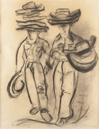 vendeurs de chapeaux by mané-katz