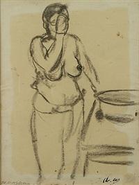 vrouw aan de wastafel by henri victor wolvens