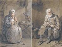 une paysanne assise dans un intérieur, s'appuyant sur un bâton (+ un paysan barbu assis dans un intérieur; pair) by louis aubert
