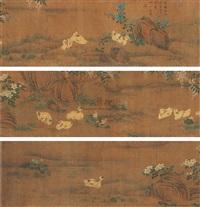 flower and ducks by xuan de