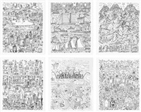 work (set of 6) by james rizzi