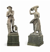 figures of a woodsman and a harvest girl (pair) by anonymous-british (19)