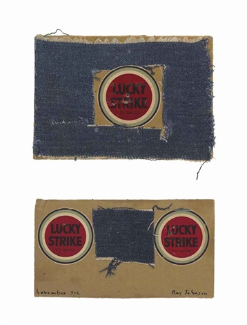 untitled lucky strike insets in cut out of blue denim 2 works by ray johnson