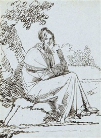 lady with a book seated beneath a tree (+ studies of men fighting in pencil, verso) by benjamin west