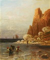 fischer an der küste vor etretat by richard fresenius