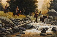 cowboys on horseback crossing a stream by john leone