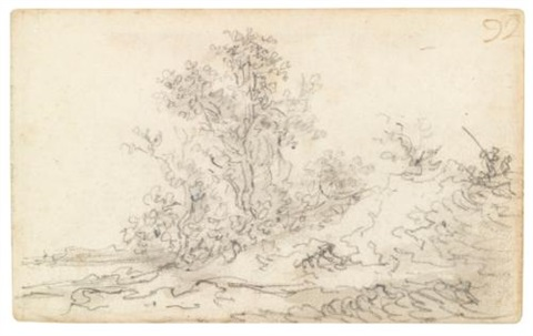 dune landscape with trees in the center two figures to the right by jan josefsz van goyen
