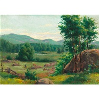 pasture with grazing cattle by joseph-charles franchere