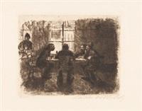 vier männer in der kneipe by käthe kollwitz