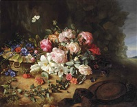 gallica roses, white lilies, carnations, cornflowers, hollyhocks, honeysuckle, an ivy branch and butterflies on a forest floor by margaretha roosenboom