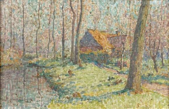 paysage à létang by emile ancelet