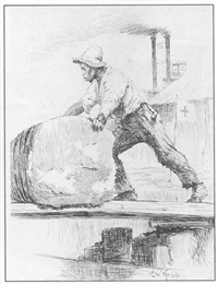 a stevedore unloading cotton at the new orleans dock by edward windsor kemble