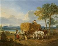 nach der ernte. oberbayerische landschaft mit see by karl wilhelm von heideck