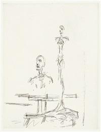 deux sculptures à l'atelier by alberto giacometti