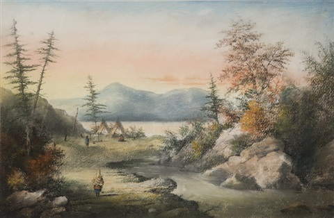 indian encampment jaune river quebec by alfred worsley holdstock