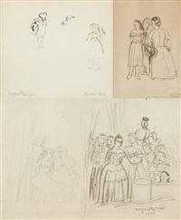 la conversation, projet pour le chapeau maudit e sans titre (3 works) by edgard tytgat