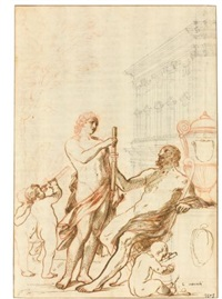design for a frontispiece: apollo and asclepius by andrea sacchi