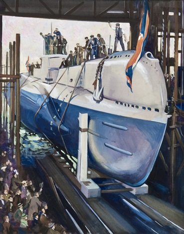 the strathnaver dropping her pilot off dover launching hm submarine seahorse at chatham 2 works by terence cuneo