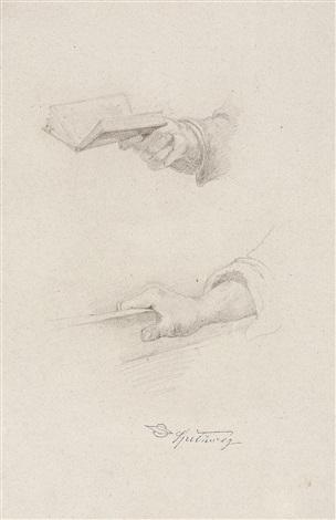 zwei handstudien. verso: gewandstudie by carl spitzweg