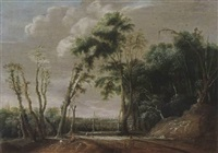 a wooded landscape with figures on a path and a shepherd resting with his flock, a view of a valley with a town beyond by jacob van geel