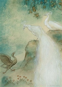 the 146st night, the story of the goose and the couple of peacocks by anton pieck