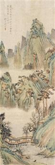 山水人物 立轴 设色纸本 by qian du