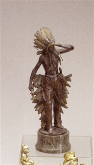 figure of an indian chief in war bonnet by umberto milani