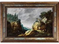 felsige landschaft mit schäfern by gillis (egidius i) peeters