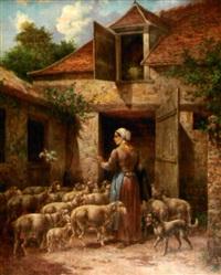 bergère et ses moutons à lent by g. angelvy