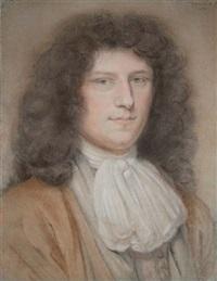 portrait d'un jeune homme portant un costume beige et une chemise à jabot by bernard vaillant
