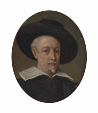portrait of the artist, bust-length, in black, a collar and a wide-brimmed hat by guido reni