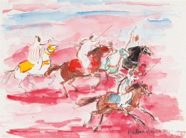 Cavaliers Sur Fond Rose Aquarelle By Hassan El Glaoui On Artnet