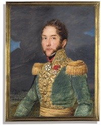 a french general, in green uniform (+ officer in blue uniform; 2 works) by josef heigel