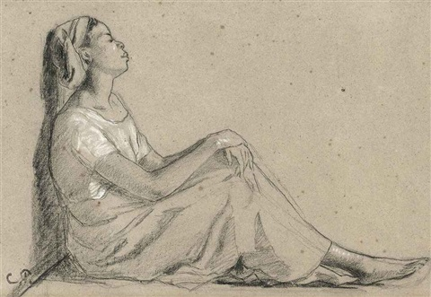 jeune négresse assise by camille pissarro