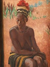 portrait de jeune femme au chapeau traditionnel by rene lesuisse