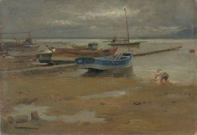 fischerboote am uferstrand by karl raupp