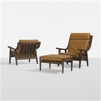 set of two lounge chairs and ottoman by hans j. wegner