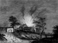 view of a burning farm at night by carl sebastian von bemmel