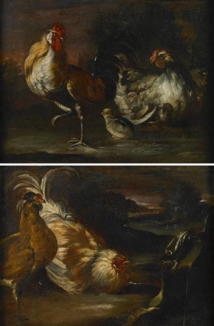 a cockerel chicken and chicks in a landscape two cockerels and a lizard in a landscape pair by giovanni agostino abate cassana