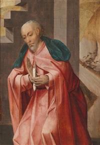 bildnis eines heiligen mit einer kerze by simon marmion