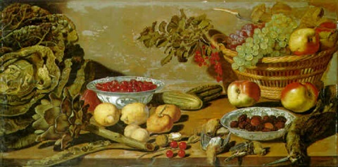 bowls of cherries and blackberries other fruit vegetables and dead birds on a table by robert willemsz de baudous