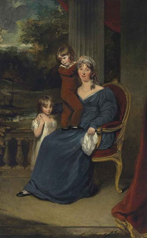 portrait of lady louisa harvey full length and her children edward and louisa on a balcony collab wanonymous by thomas lawrence