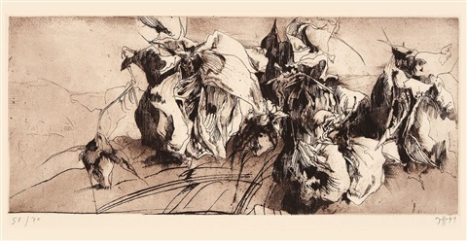 konvolut von vier blatt radierungen der folge caspar david friedrich (4 works, some lrgr) by horst janssen