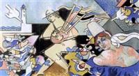 bigouden et joueur de binou aux mouettes by raymond louis quillivic